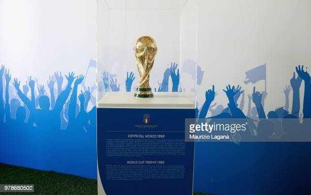 World Cup Trophy 1982 is shown during FIGC 120 Years Exhibition on June 19 2018 in Matera Italy