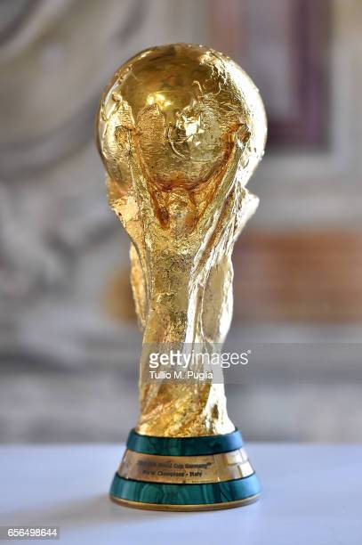 World Cup Trophy 2006 is displayed during an exhibition of Italian Football Federation Trophies and Memorabilia at Villa Niscemi on March 22 2017 in...