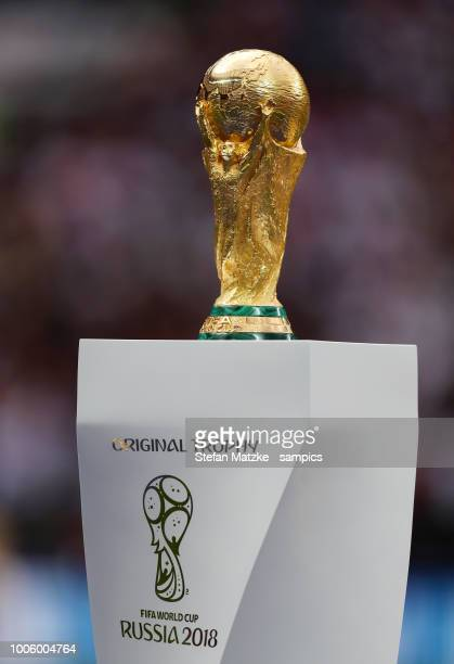 World Cup trophy during the 2018 FIFA World Cup Russia Final between France and Croatia at Luzhniki Stadium on July 15, 2018 in Moscow, Russia.