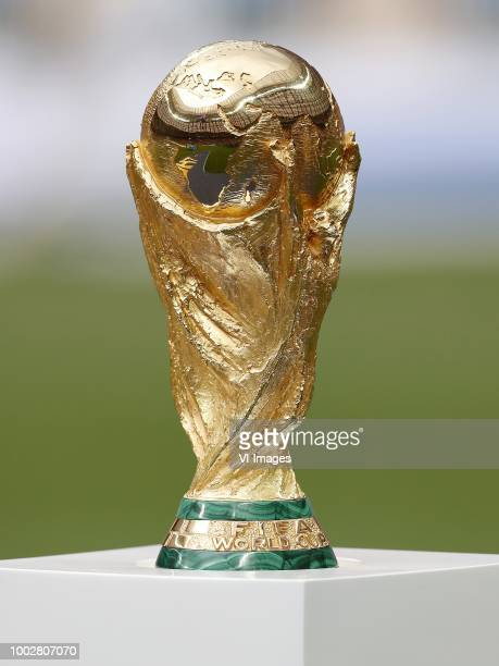 World Cup trophy, FIFA World Cup trophy during the 2018 FIFA World Cup Russia Final match between France and Croatia at the Luzhniki Stadium on July...