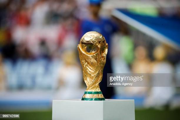 World Cup trophy is seen ahead of the 2018 FIFA World Cup Russia final match between France and Croatia at the Luzhniki Stadium in Moscow, Russia on...