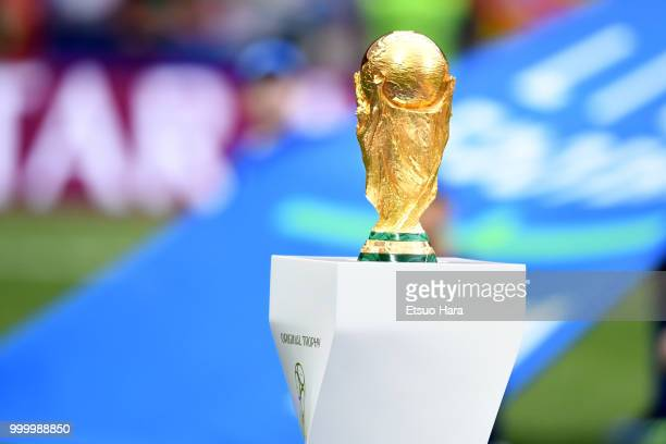 World Cup trophy is seen ahead of the 2018 FIFA World Cup Russia Final between France and Croatia at Luzhniki Stadium on July 15, 2018 in Moscow,...