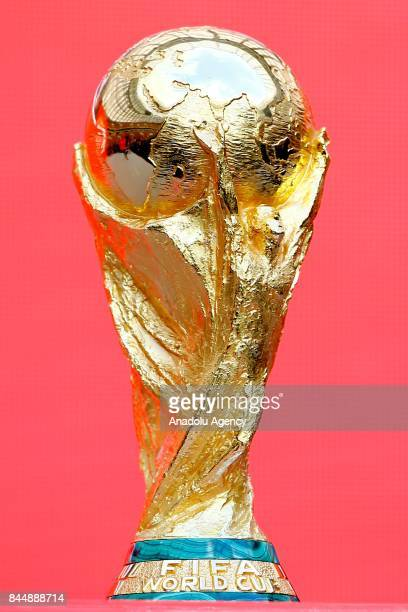 World Cup Trophy is seen during the official kickoff ceremony for the 2018 FIFA World Cup Trophy Tour at Luzhniki Stadium in Moscow Russia on...
