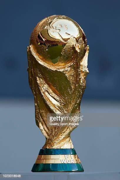 World Cup Trophy is seen prior to the La Liga match between Club Atletico de Madrid and Rayo Vallecano de Madrid at Wanda Metropolitano on August 25,...