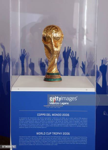 World Cup Trophy is shown during FIGC 120 Years Exhibition on June 19 2018 in Matera Italy