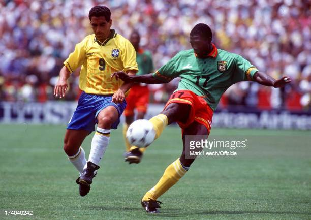 World Cup USA 1994 Cameroon v Brazil Marc Vivien Foe shoots before Zinho tackles