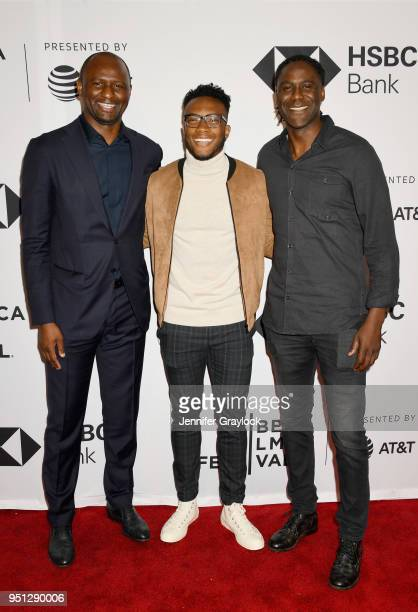 World Cup Winner and NYCFC Coach Patrick Vieira Costa Rica National Team and NYCFC player Rodney Wallace and Executive producer Mario Melchiot attend...
