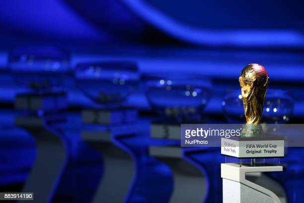 World Cup winner's trophy seen during the Final Draw for the 2018 FIFA World Cup at the State Kremlin Palace on December 01 2017 in Moscow Russia