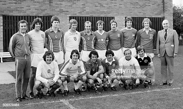 World Cup winning manager Sir Alf Ramsey joins his Birmingham City players for an unusal team photograph with the group wearing a collection of...