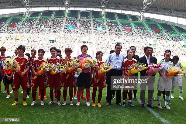 World Cup winning players Megumi Takase, Shinobu Ohno, Yukari Kinga, Asuna Tanaka, Ayumi Kaihori and Nahomi Kawasumi and Homare Sawa and Karina...