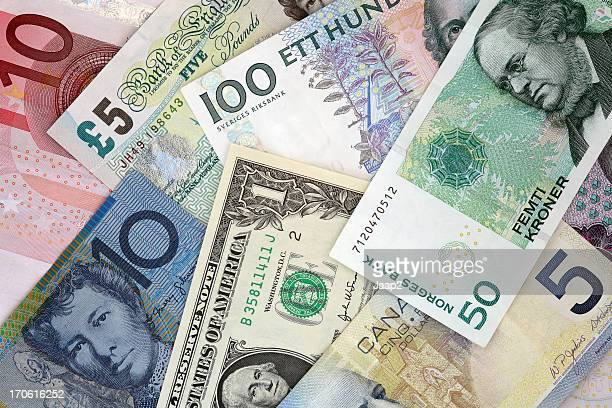 World Currencies : Euro, Pound, Dollar, Kroner banknotes
