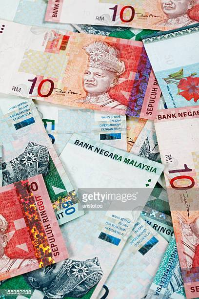 world currencies. malaysian ringgit - malaysian ringgit stock photos and pictures