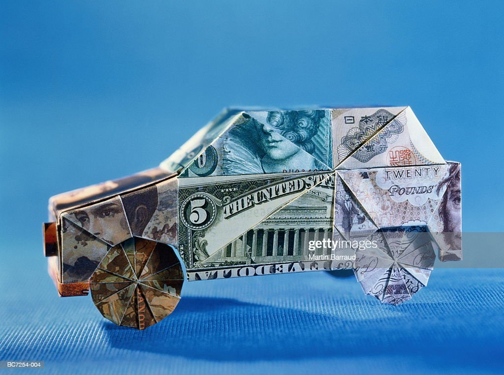 World Currency Origami Car Closeup Stock Photo Getty Images