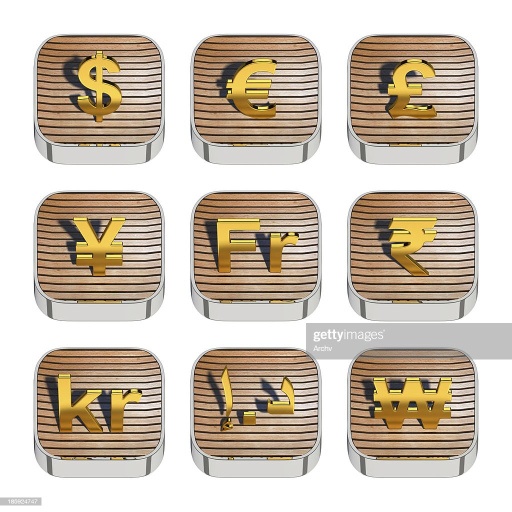 World Currency Symbols On 3d Wooden App Icon Stock Photo Getty Images