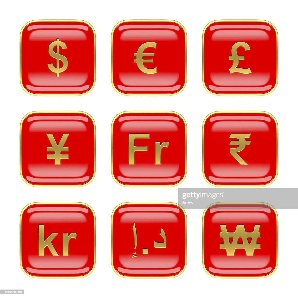 World Currency Symbols On Red App Icon Os7 Stock Photo - Getty Images