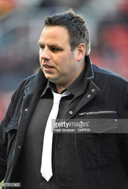 PDC World Darts Champion Adrian Lewis on the pitch at the Britannia Stadium during the half time interval