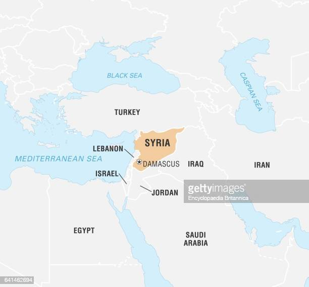 Syria on world map stock photos and pictures getty images encyclopaedia britannicauig via getty images gumiabroncs Gallery