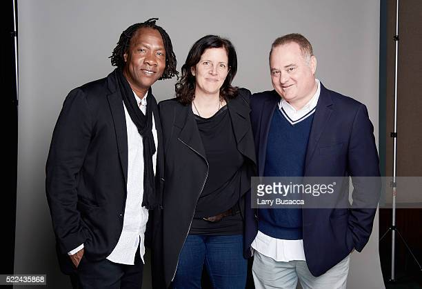 2016 World Documentary Competition jurors Roger Ross Williams Laura Poitras and Douglas Tirola pose for a portrait during the Juror Welcome Lunch at...