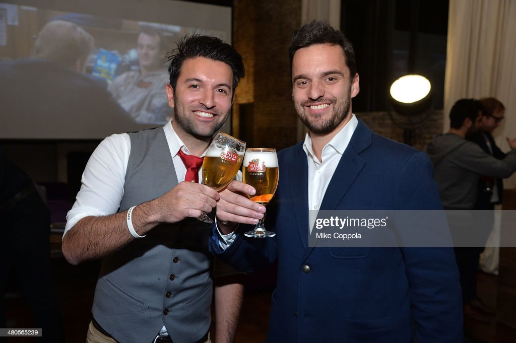 World Draught Master Allaine Schaiko and actor Jake Johnson attend the Stella Artois PerfectDraft Home Bar celebration event on March 25, 2014 in New York City.