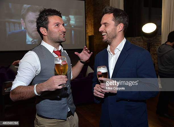 World Draught Master Allaine Schaiko and actor Jake Johnson attend the Stella Artois PerfectDraft Home Bar celebration event on March 25 2014 in New...