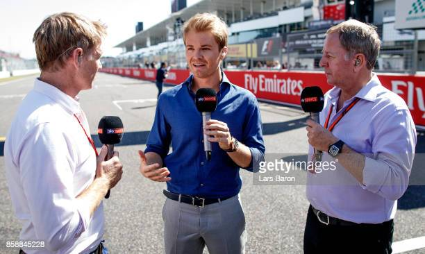 World Drivers Champion Nico Rosberg talks with Martin Brundle and Simon Lazenby on Sky Sports F1 TV before the Formula One Grand Prix of Japan at...