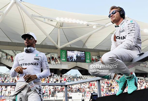 World Drivers Championship contenders Lewis Hamilton of Great Britain and Mercedes GP and Nico Rosberg of Germany and Mercedes GP on the drivers...