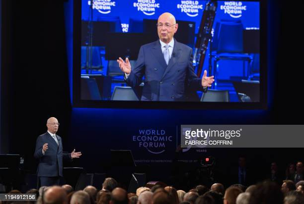 World Economic Forum founder and executive chairman Klaus Schwab attends a ceremony to mark the 50th anniversary of World Economic Forum during the...