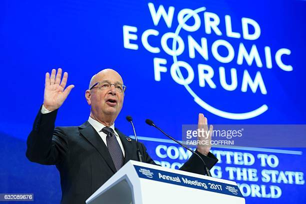 World Economic Forum founder and executive chairman Klaus Schwab gestures during a session of the World Economic Forum on January 19 2017 in Davos /...