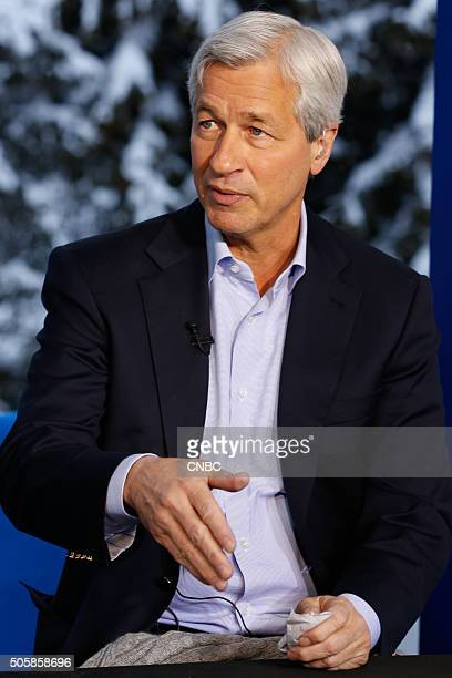 DAVOS 2016 World Economic Forum Pictured Jamie Dimon chairman president and CEO of JP Morgan Chase in an interview at the annual World Economic Forum...