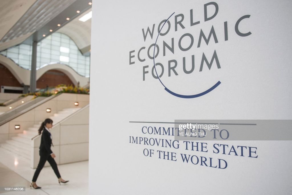 World Economic Forum poster is displayed at the National Convention Center in Hanoi, the venue of the conference on September 11, 2018. - The World Economic Forum on ASEAN (Association of Southeast Asian Nations) opens in Hanoi on September 11 under the official banner of 'Entrepreneurship and the Fourth Industrial Revolution'.