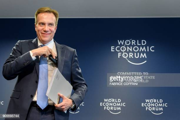 World Economic Forum President Borge Brende attends a press conference ahead of the WEF 2018 Annual Meeting on January 16 2018 in Cologny near Geneva...