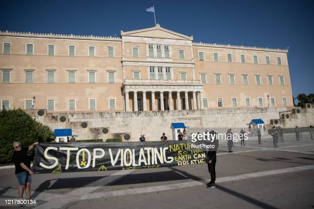 World Environment Day protest front of the Greek Parliament In Athens, Greece on June 5, 2020.