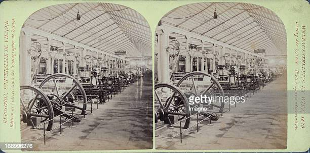 Germany machine hall Publisher of the Vienna Photographers Association Stereo photograph Weltausstellung Wien 1873 Maschinenhalle Deutschland Verlag...