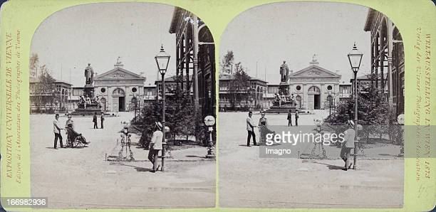 Avenue between Rotunda and the machine hall Publisher of the Vienna Photographers Association Stereo photograph Weltausstellung Wien 1873 Avenue...