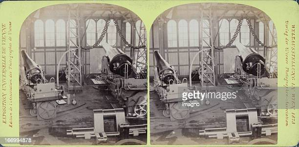 Cannons in the Krupp pavillon Publisher of the Vienna Photographers Association Stereo photograph Weltausstellung Wien 1873 Belagerungsgeschütze im...