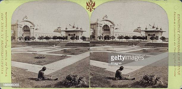 East portal and Achmedbrunnen Publisher of the Vienna Photographers Association Stereo photograph Weltausstellung Wien 1873 Ostportal und...