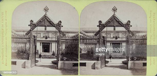 Entrance to the Russian Court Publisher of the Vienna Photographers Association Stereo photograph Weltausstellung Wien 1873 Eingang zum Russischen...