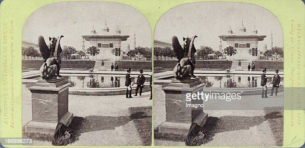 Garden at Achmedbrunnen Publisher of the Vienna Photographers Association Stereo photograph Weltausstellung Wien 1873 Gartenpartie beim Achmedbrunnen...
