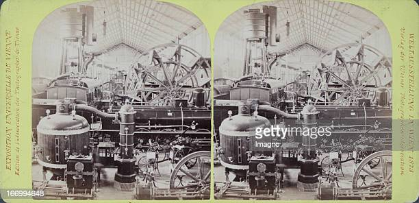 Machine hall Switzerland and Belgium Publisher of the Vienna Photographers Association Stereo photograph Weltausstellung Wien 1873 Maschinenhalle...