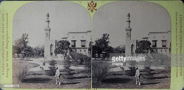 Northern view of the Egyptian palace Publisher of the Vienna Photographers Association Stereo photograph Weltausstellung Wien 1873 Nördliche Ansicht...