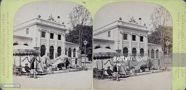 Pavilion of the newspaper Neue Freie Presse Publisher of the Vienna Photographers Association Stereo photograph Weltausstellung Wien 1873 Pavillon...