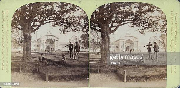 View to the West entrance Publisher of the Vienna Photographers Association Stereo photograph Weltausstellung Wien 1873 Ansicht auf das...