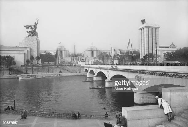 World Fair in Paris The palais de Chaillot and the pont d'Iéna with the USSR and Germany pavilions facing