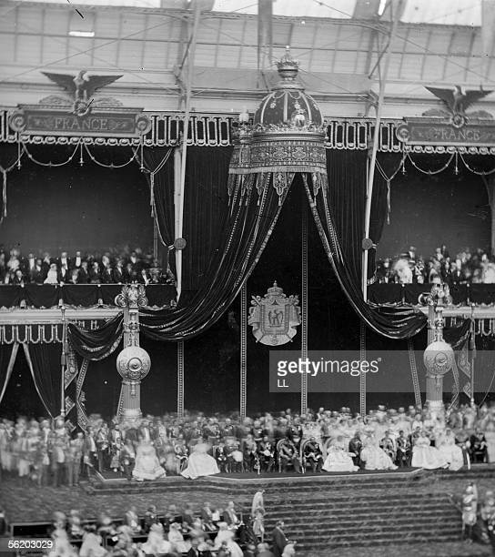 World Fair Paris The handing out of awards at the industry exhibition center in the presence of the emperor Napoleon III the imperial family and the...