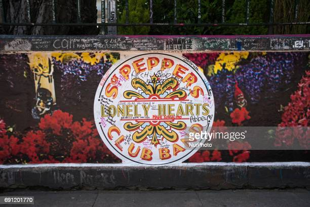 World famous Abbey Road Studios are decorated with Beatles stickers on the walls, to remember the 50th anniversary of the release of Sgt Pepper's...