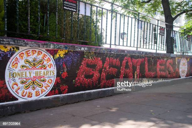 World famous Abbey Road Studios are decorated with Beatles stickers on the walls to remember the 50th anniversary of the release of Sgt Pepper's...