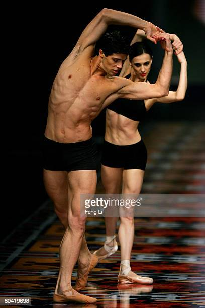 World famous ballet dancer Etoile Roberto Bolle and his partner perform during the Women's and Men's AutumnWinter 2008 Fashion Show of Italian brand...