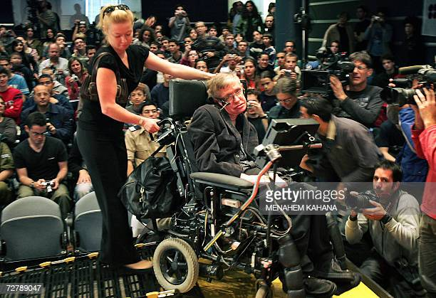 World famous British scientist Stephen Hawking arrives to the Bloomfield Museum of Science in Jerusalem 10 December 2006 Hawking filled the hall to...