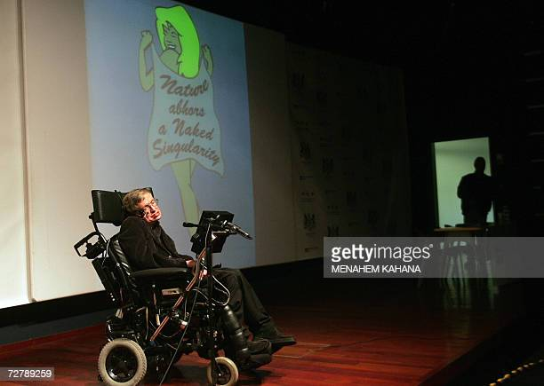 World famous British scientist Stephen Hawking gives a lecture at the Bloomfield Museum of Science in Jerusalem 10 December 2006 Hawking filled the...