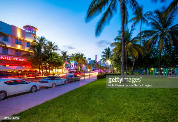 World famous landmark at Art deco district of South Beach, Miami in Florida USA